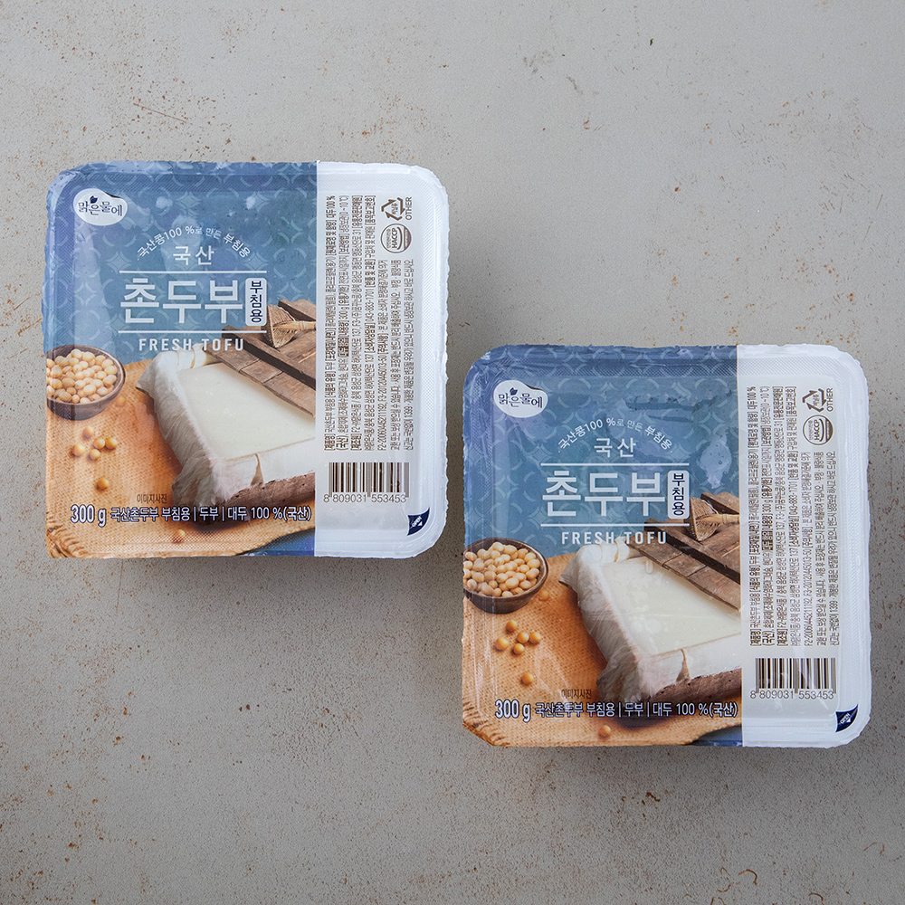 맑은물에 국산콩 100% 촌두부, 300g, 2개