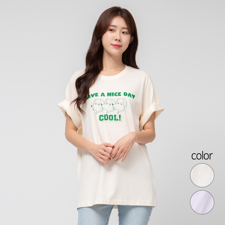 캐럿 여성용 릴렉스 핏 그래픽 티셔츠 나이스 데이