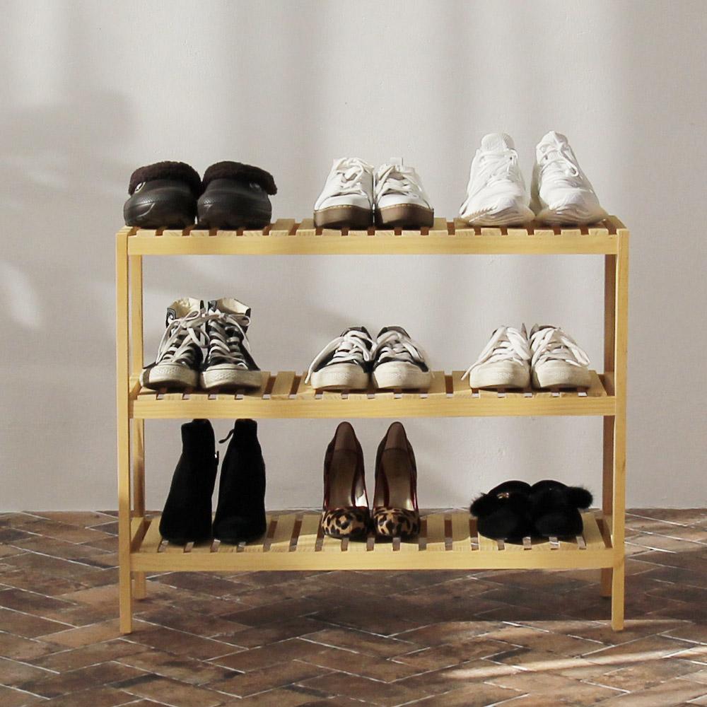 올리빙 벤치형 원목 신발장 3단 800, 단일 색상