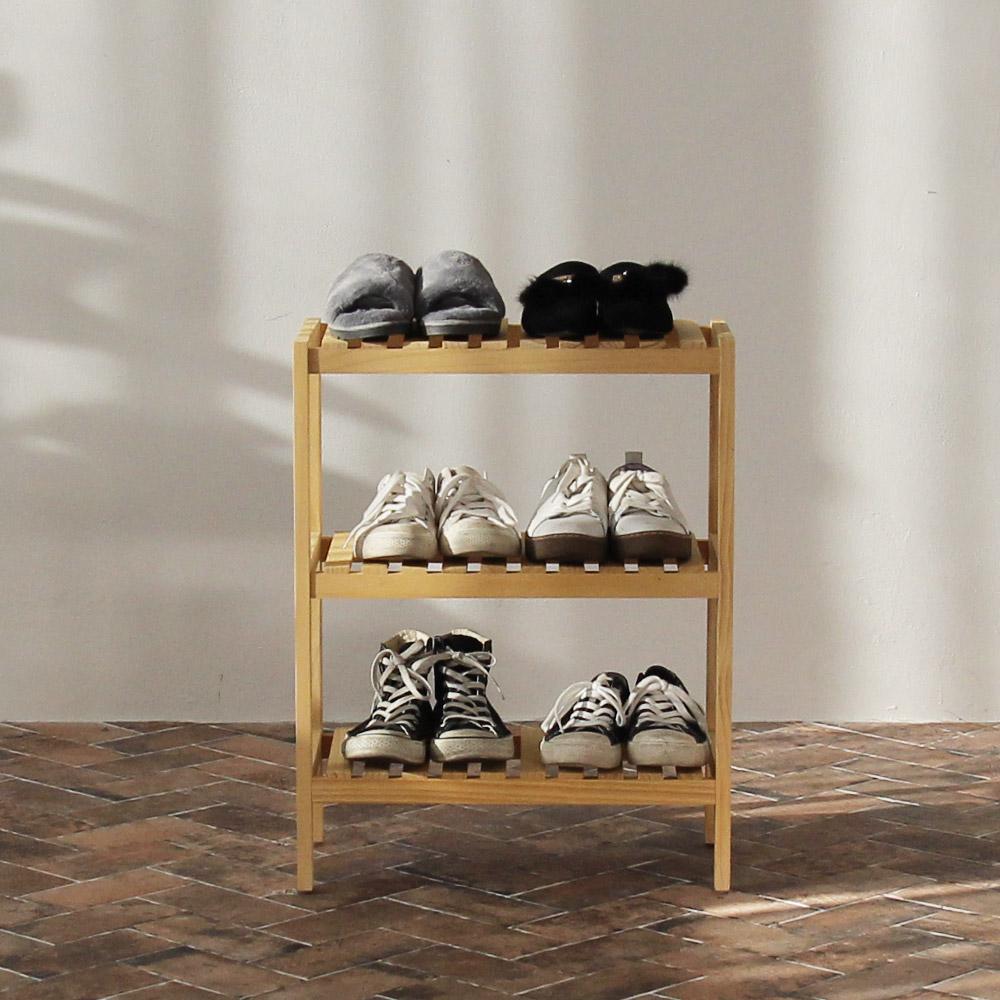 올리빙 벤치형 신발장 3단 500, 원목
