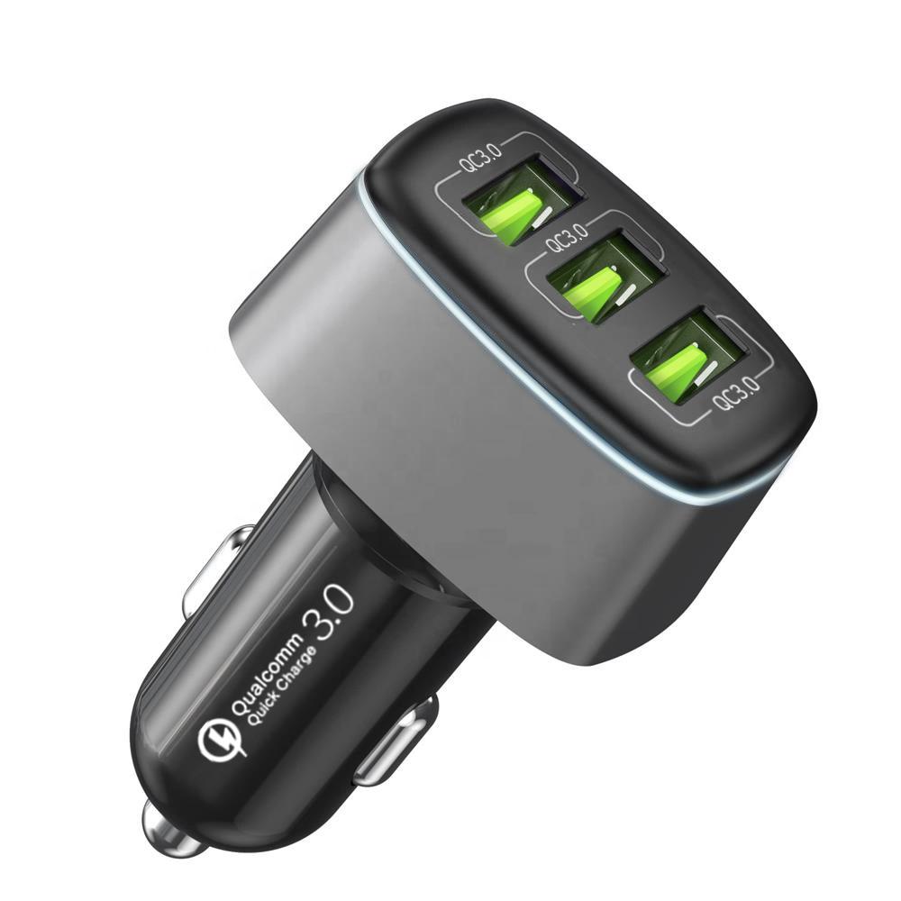 퀄컴 공식 QC3.0 차량용 시거잭 고속충전기  메탈실버  FP6601Q-3(3포트 54W)신지모루 트리플 퀵차지3.0 차량용