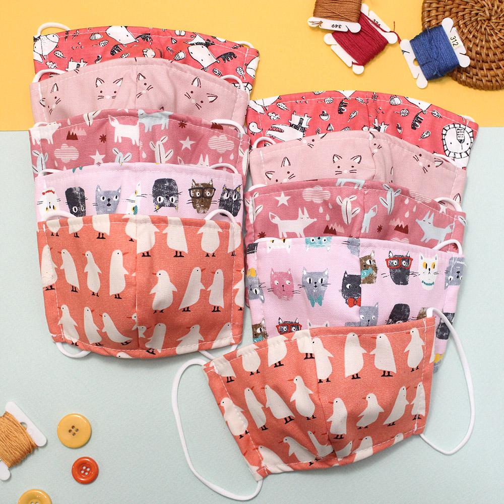 드레스하우스 유아동용 핑크 패턴 입체 마스크 데일리 10p