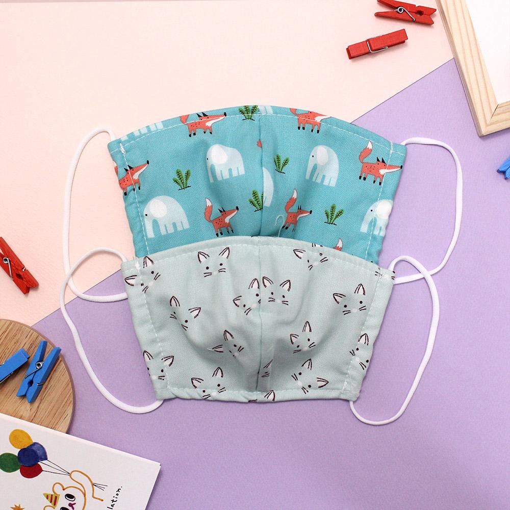 드레스하우스 아동용 블루 패턴 입체 마스크 2p