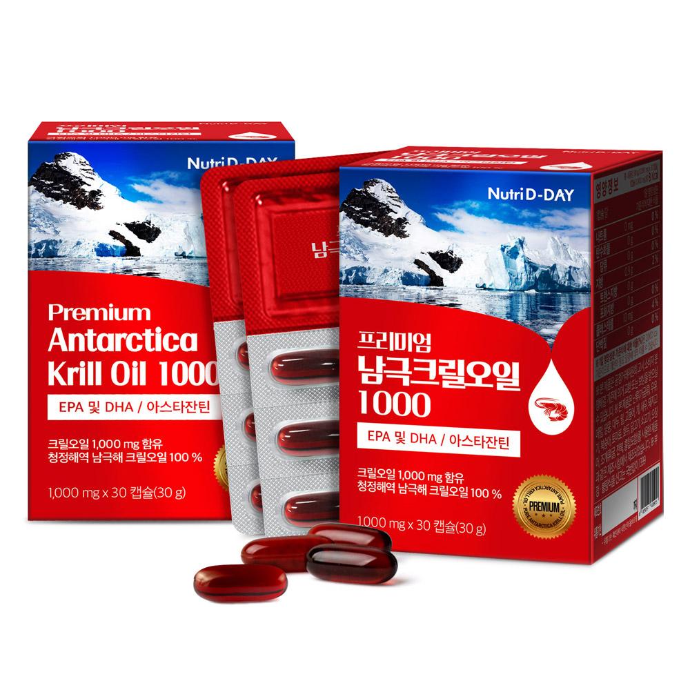 뉴트리디데이 프리미엄 남극 크릴오일 1000, 30캡슐, 2개