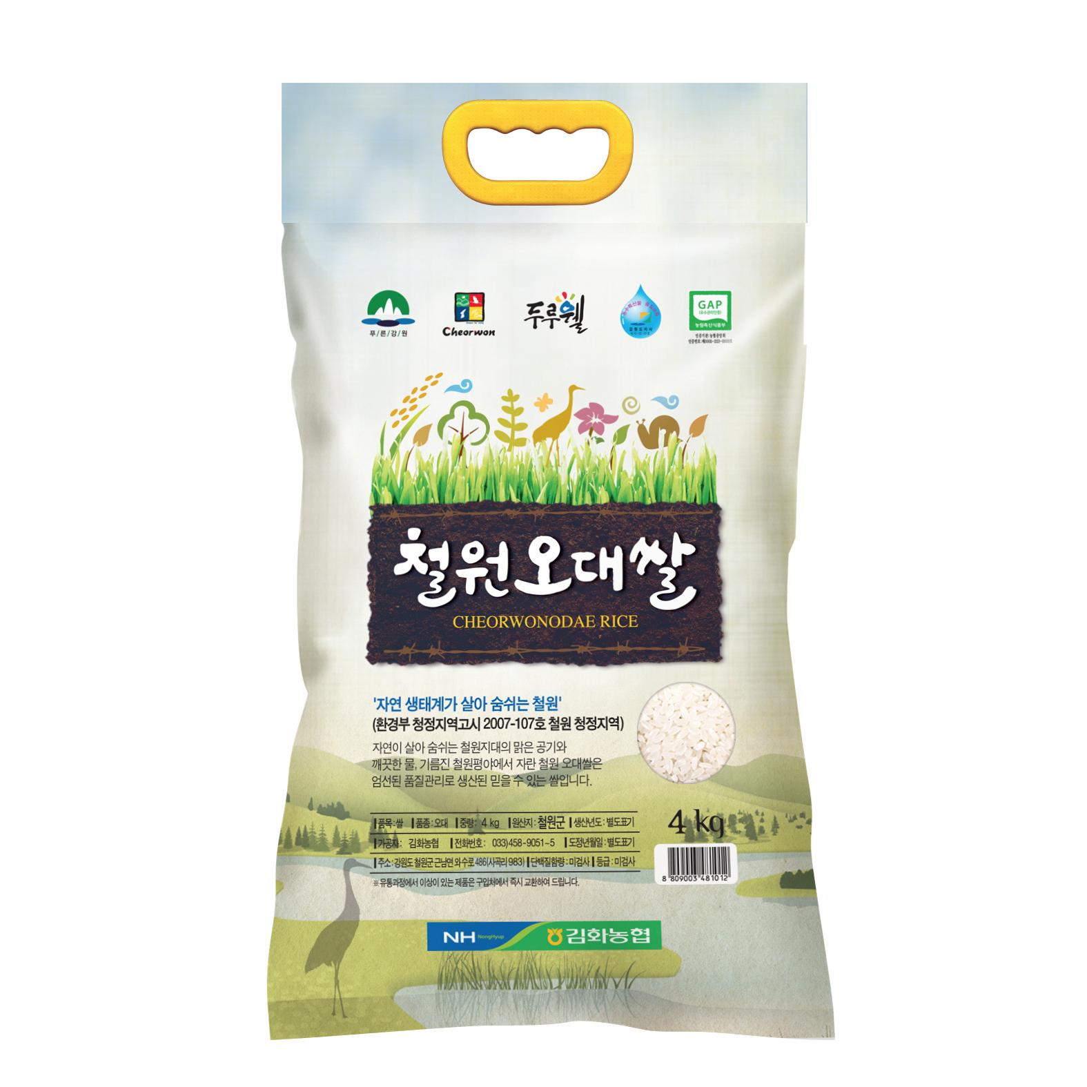 농협 2020년 햅쌀 철원오대쌀 백미, 4kg, 1개