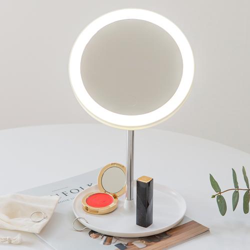 아이린 충전식 LED 화장 탁상거울, 화이트