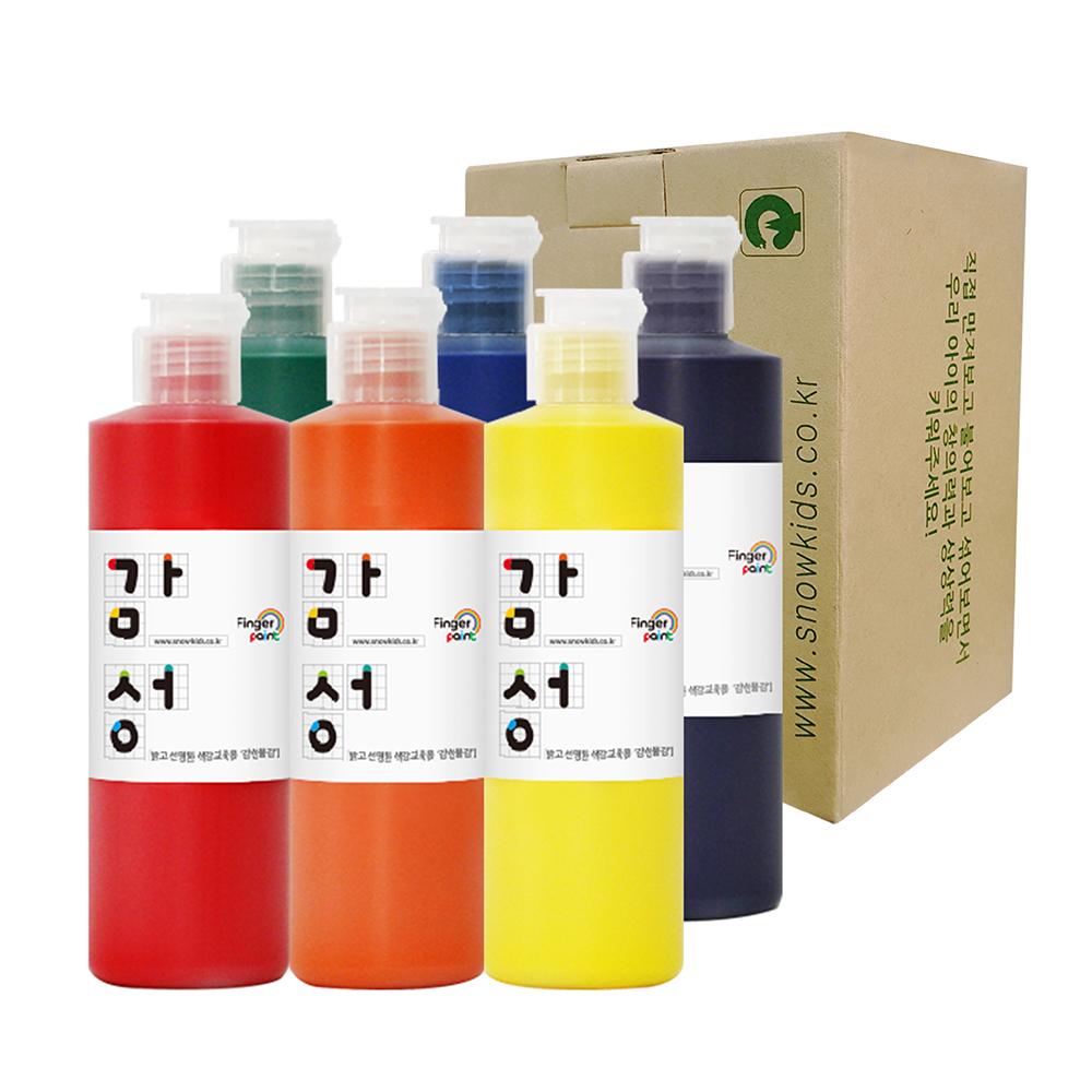 스노우키즈 감성물감 색감교육용 핑거페인트, 250ml, 6색