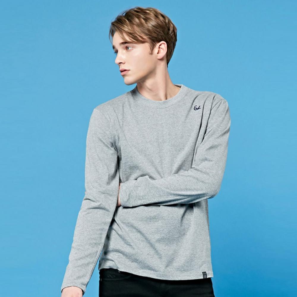 크루클린 남녀공용 로고자수 무지 라운드 긴팔 티셔츠 TRL706