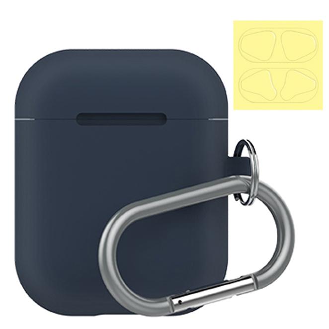 랩씨 에어팟 실리콘 케이스 캡슐 + 철가루 방지 스티커, 단일 상품, 네이비