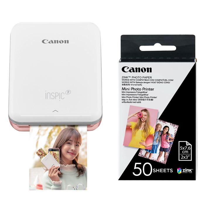 캐논 인스픽 미니 포토 프린터 휴대용 로즈골드 + 인화지 50p, PV-123