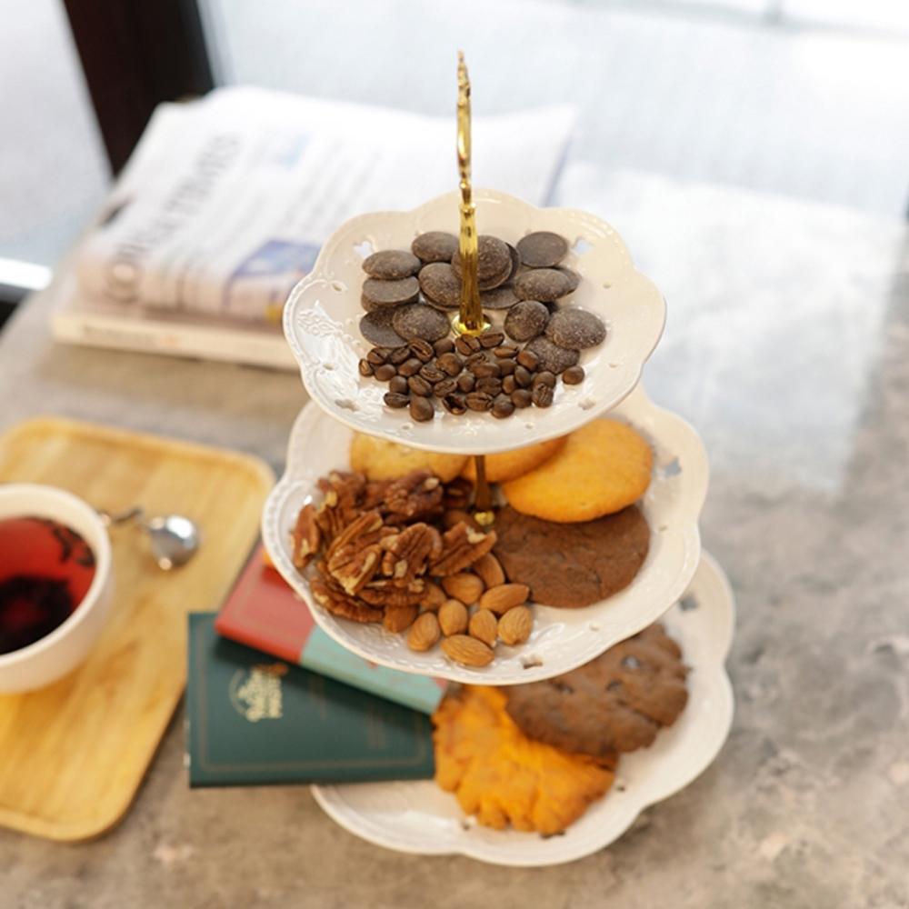 루이앤탑펠 북유럽풍 디자인 3단 케이크 디저트 트레이, 화이트, 1세트
