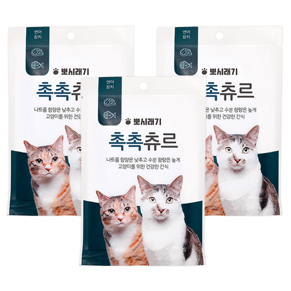 뽀시래기 저염 촉촉 츄르 고양이간식 파우치, 연어 + 참치 혼합맛, 15개