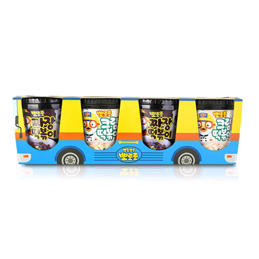 뽀로로 떡볶이 버스팩 크림맛 115g x 2p + 짜장맛 110g x 2p, 1세트