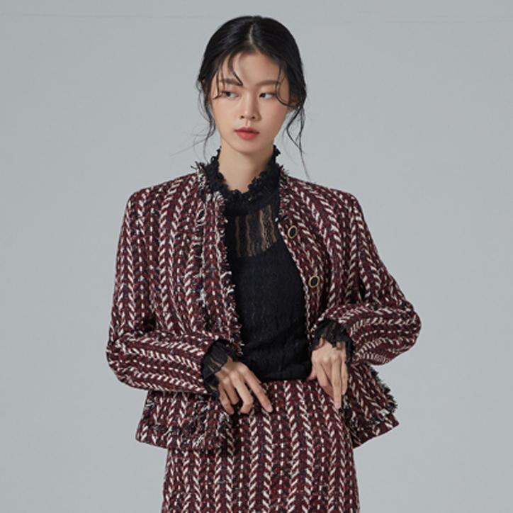 미쏘 여성용 헤링본 조직 트위드 자켓