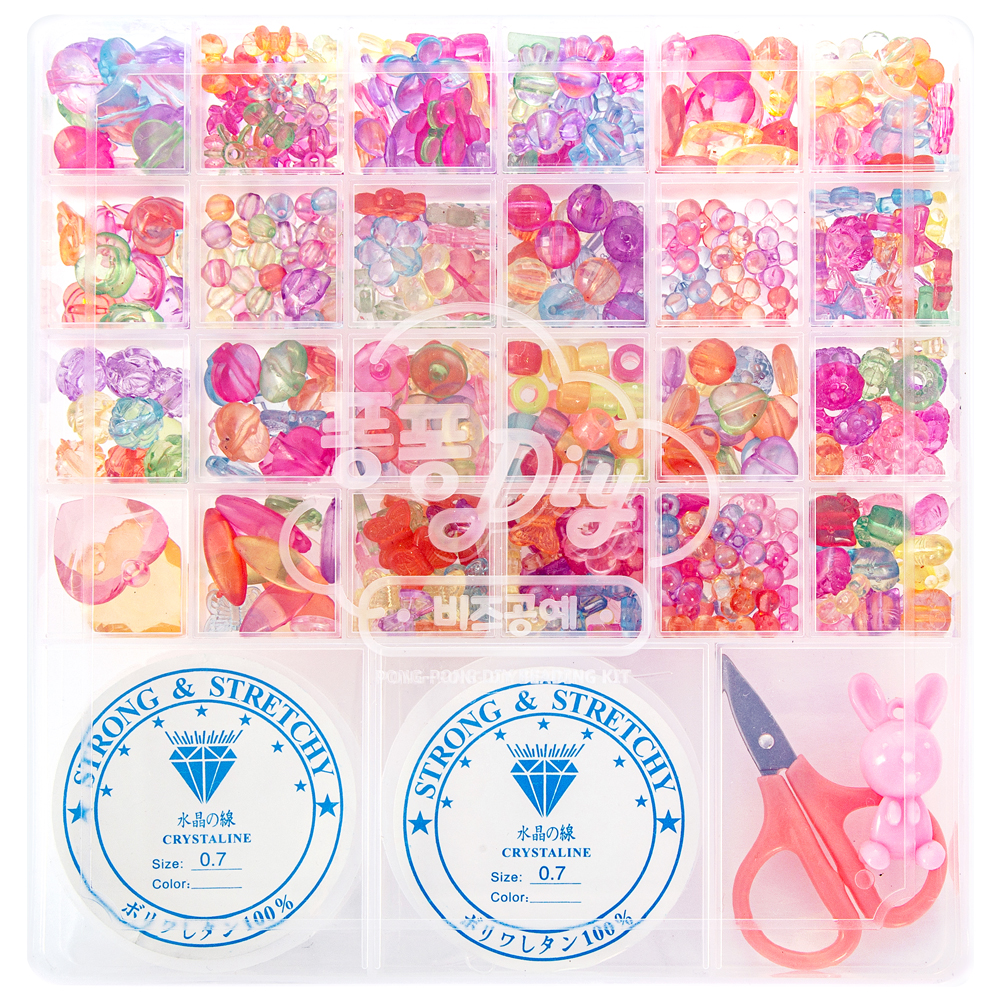 핑크공주 퐁퐁비즈공예 24칸 DIY세트 A07 투명 우레탄줄 2p 포함, 혼합 색상