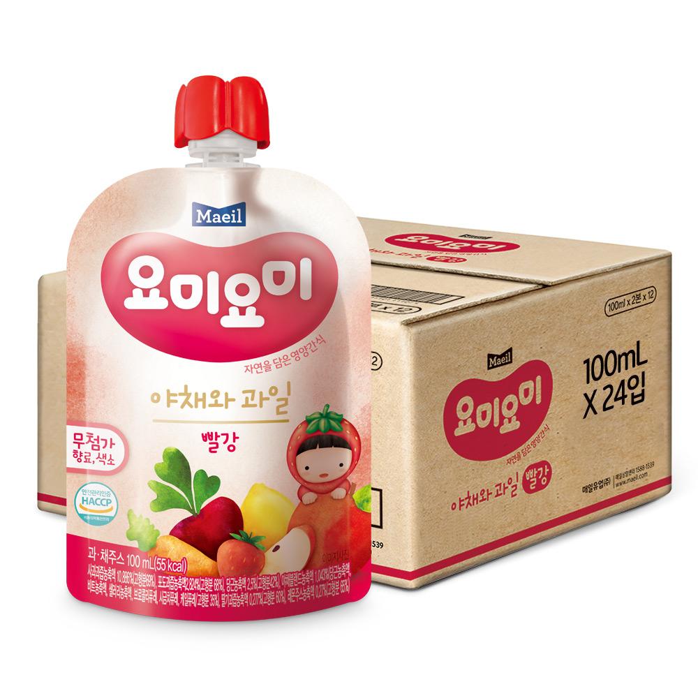 요미요미 야채와 과일 주스 100ml, 빨강, 24팩