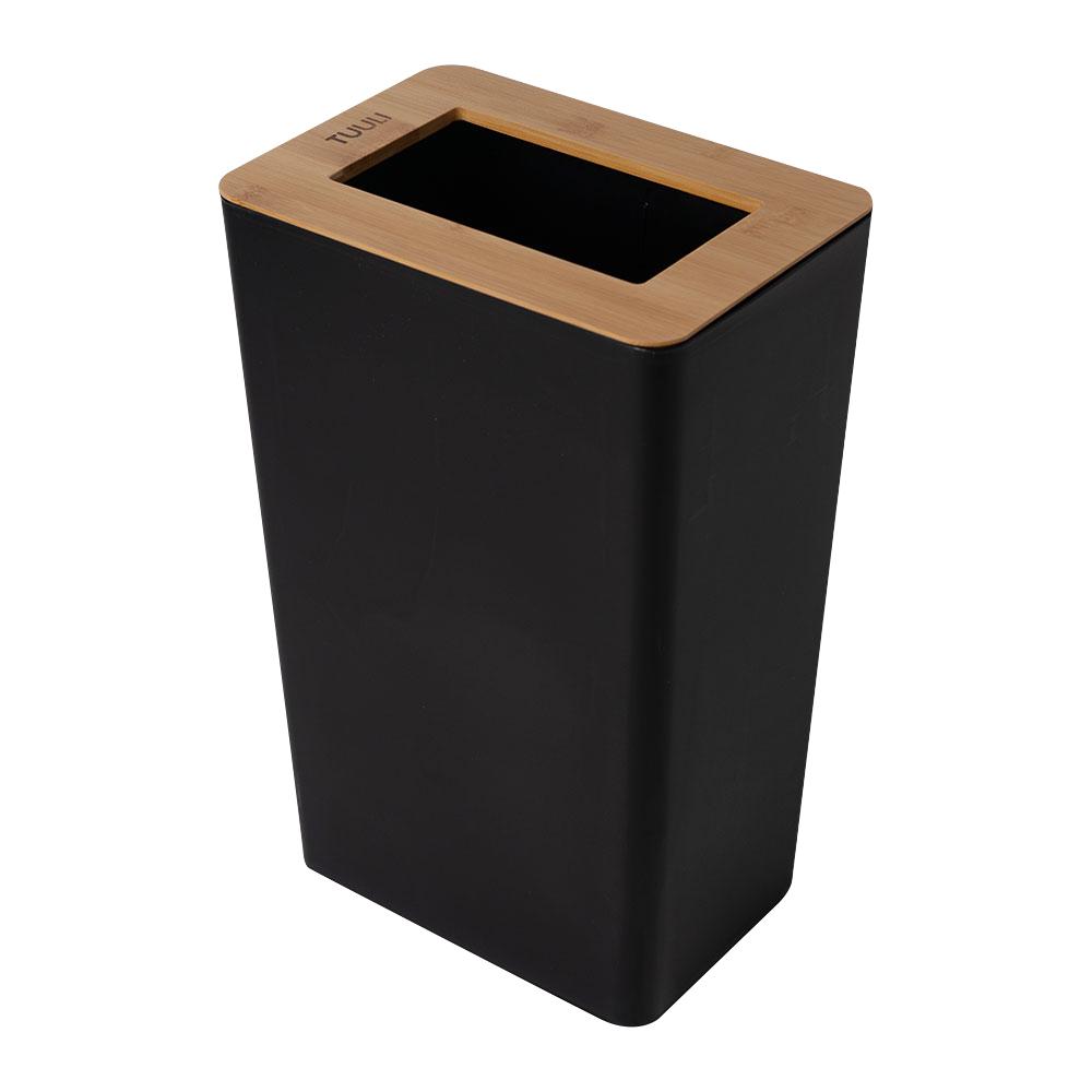 씨에스리빙 튤리 자연주의 대나무 사각 휴지통 20L, 블랙, 1개
