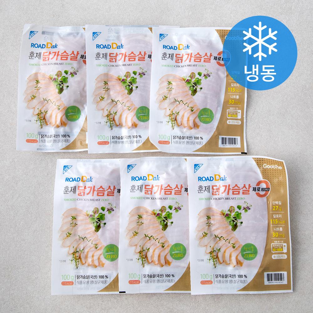 굽네 로드닭 훈제 닭가슴살 슬라이스 제로 (냉동), 100g, 6팩