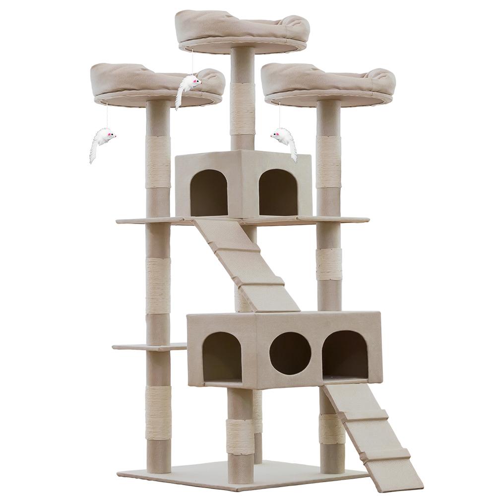 헬로망치 프리미엄 대형 고양이 직조 캣타워, DS8897 베이지, 1개
