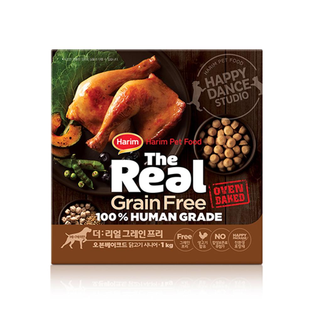 하림펫푸드 더리얼 그레인프리 오븐베이크드 시니어 강아지사료, 닭, 1kg