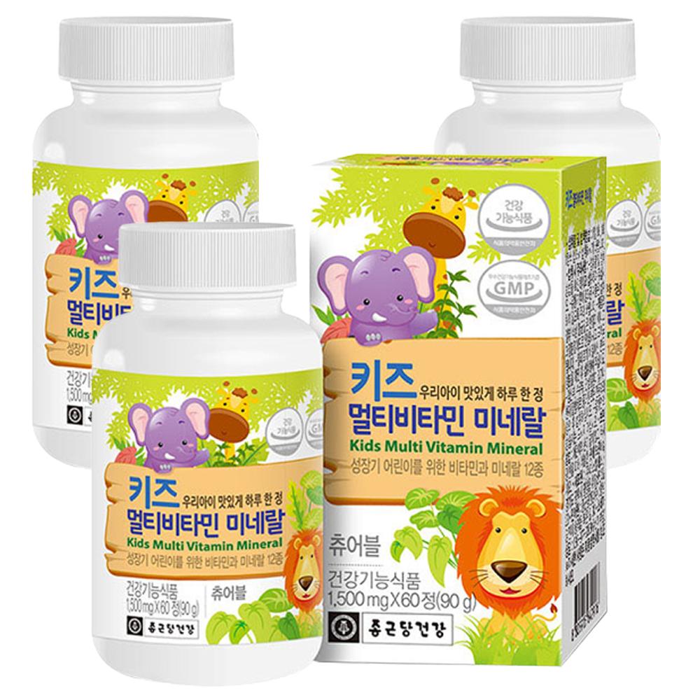 종근당건강 키즈 멀티비타민 미네랄, 60정, 3개