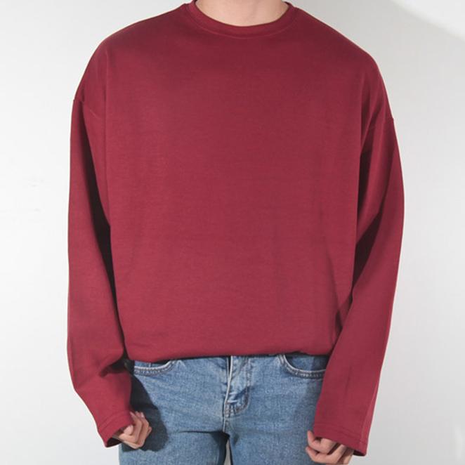 제이에이치스타일 남성용 오버핏 무지 긴팔 티셔츠