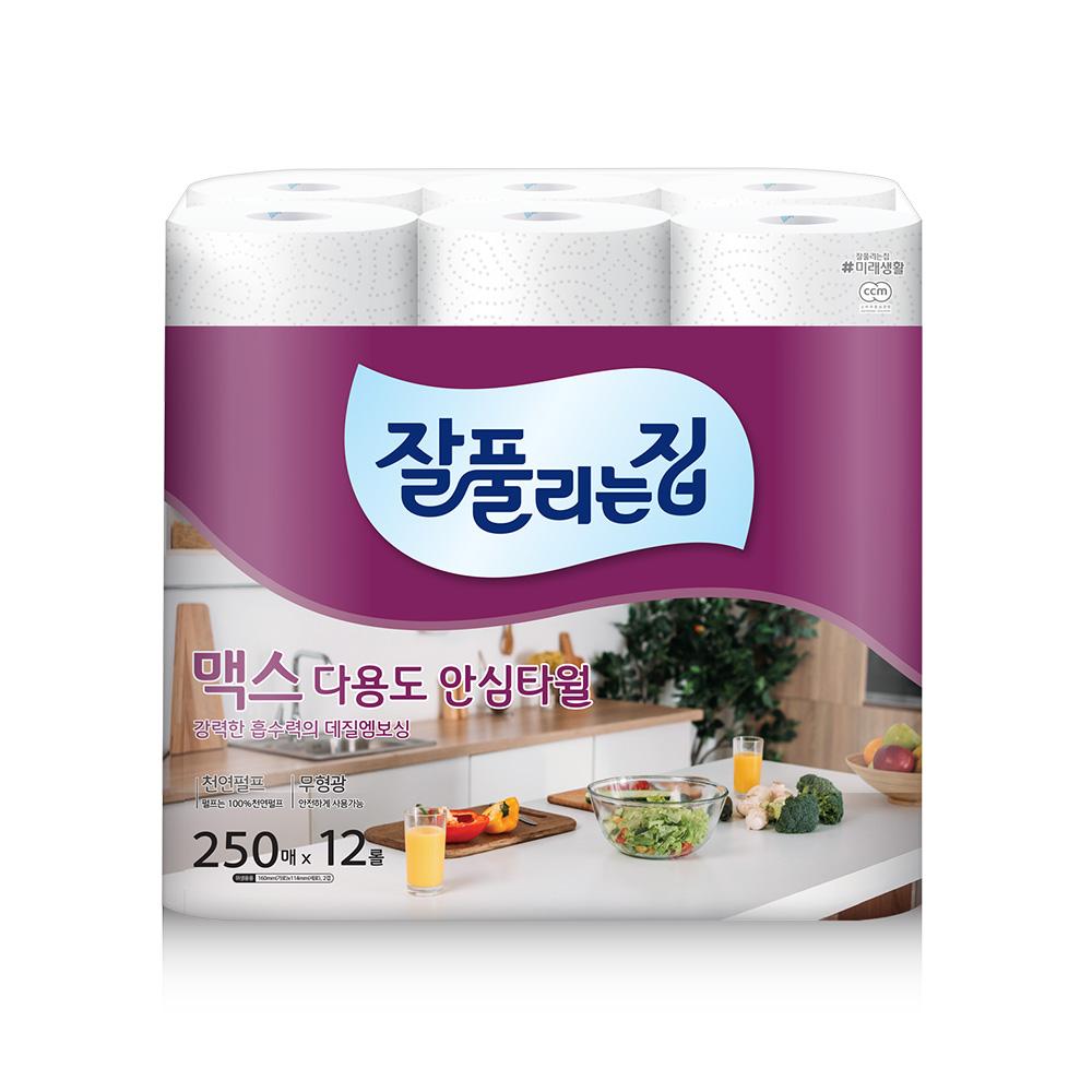 [주방용품] 잘풀리는집 맥스 다용도 키친타올 250매, 12개입, 1개 - 랭킹1위 (12510원)