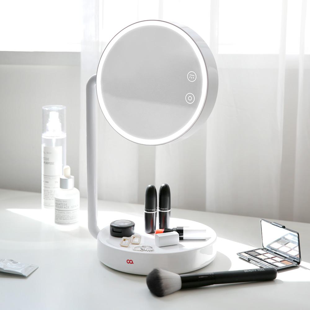 오아 블링 LED 화장 스탠드 거울 OA-BU150, 화이트