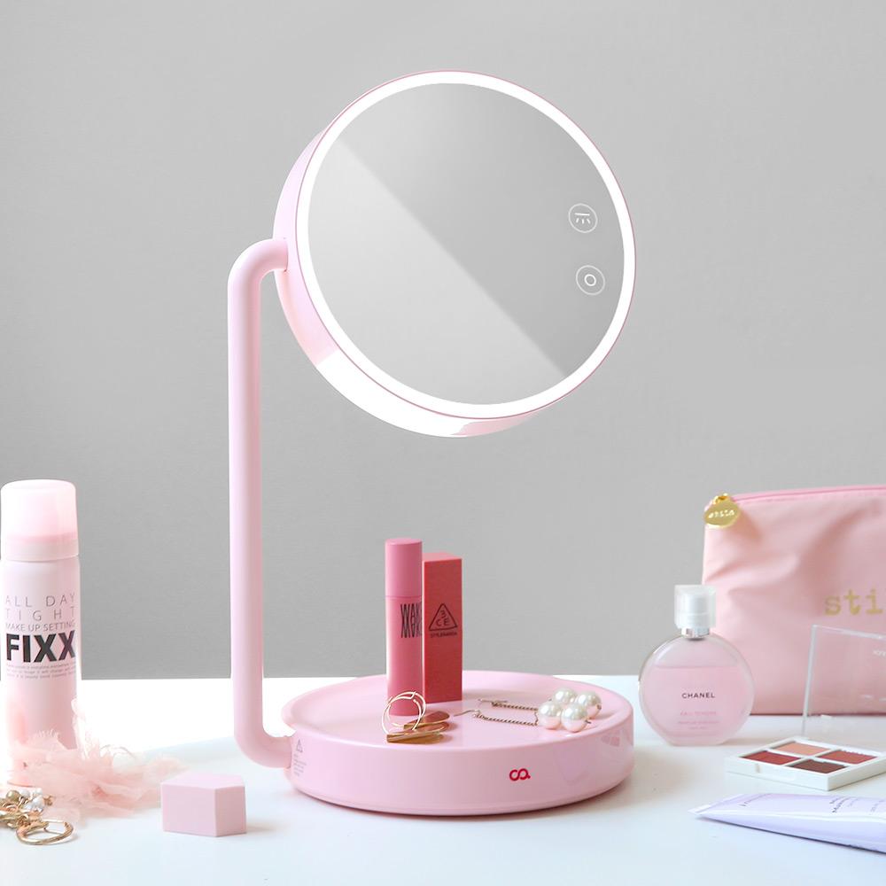 오아 블링 LED 화장대 스탠드 탁상 책상 메이크업 조명거울, 핑크