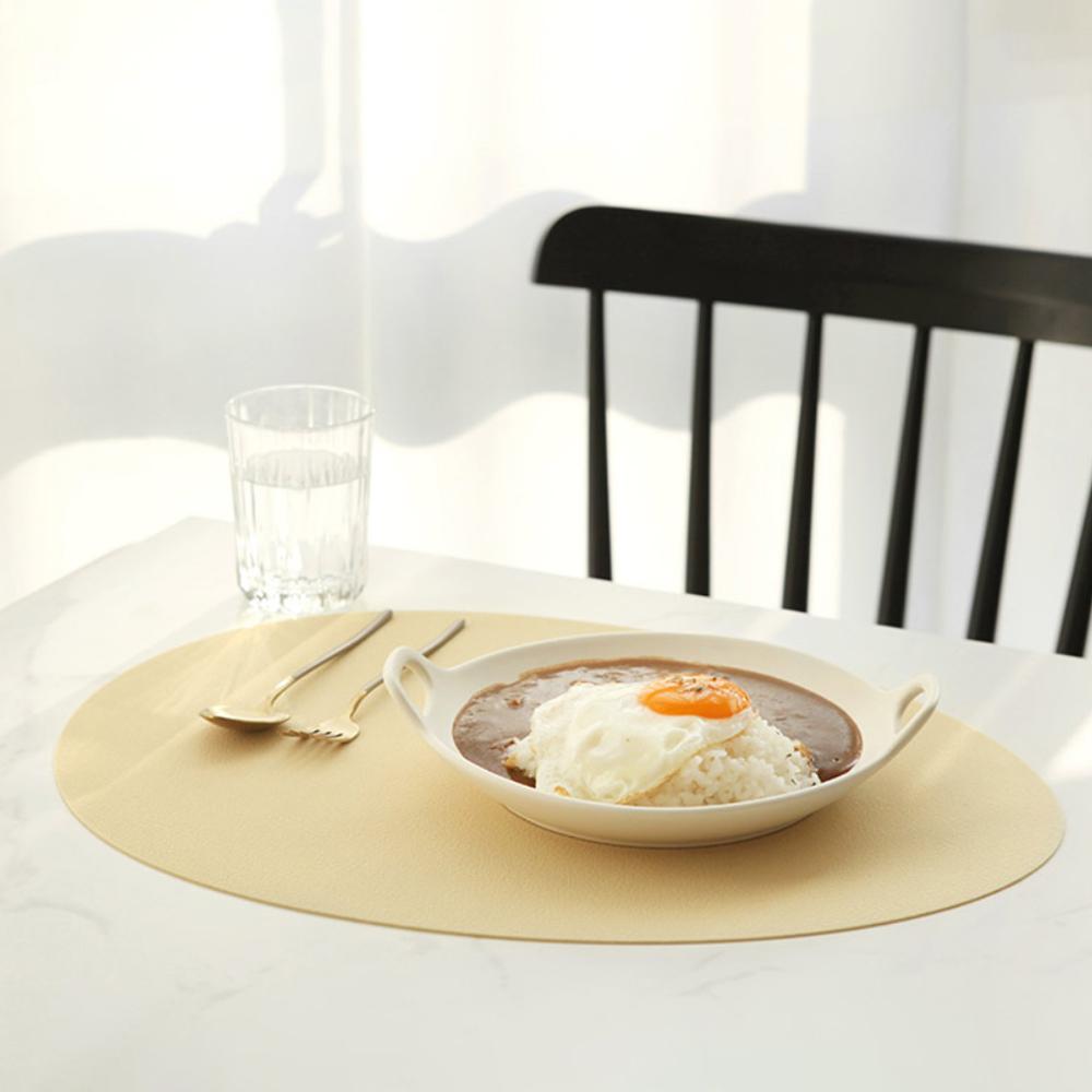 케라미카 실리콘 조약돌 식탁매트, 베이지, 430 x 330 mm