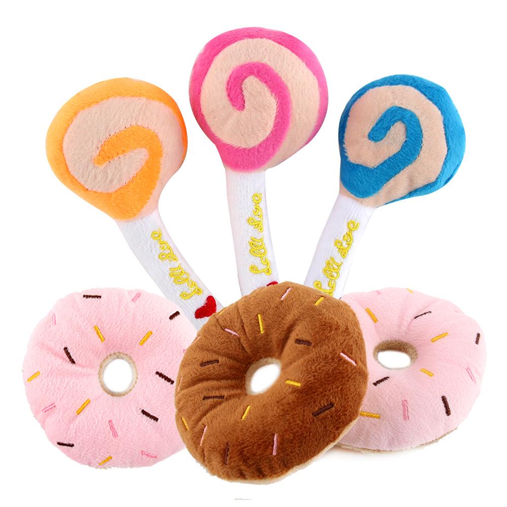 도그아이 반려견용 봉제사탕 3p + 봉제도넛 3p 장난감 세트, 랜덤 발송, 1세트