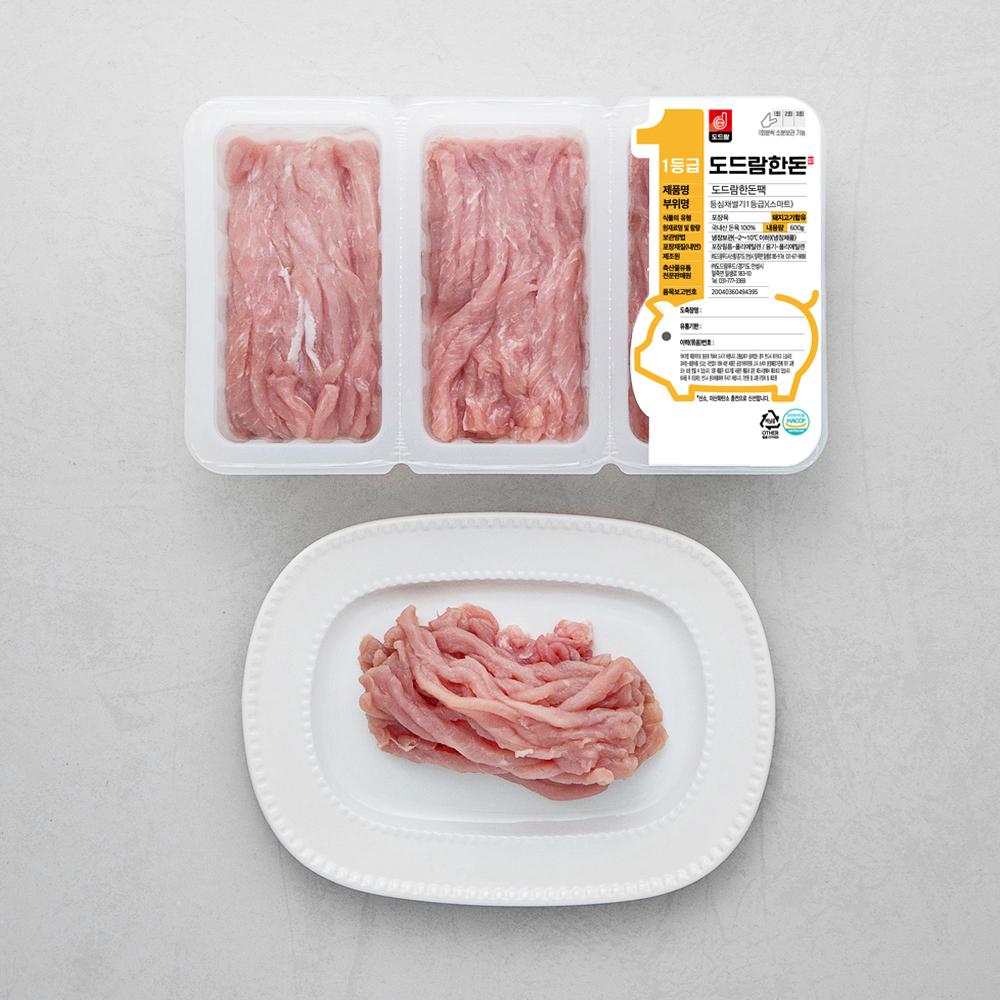 도드람한돈 돼지 등심 스마트팩 1등급 잡채용 (냉장), 200g, 3팩