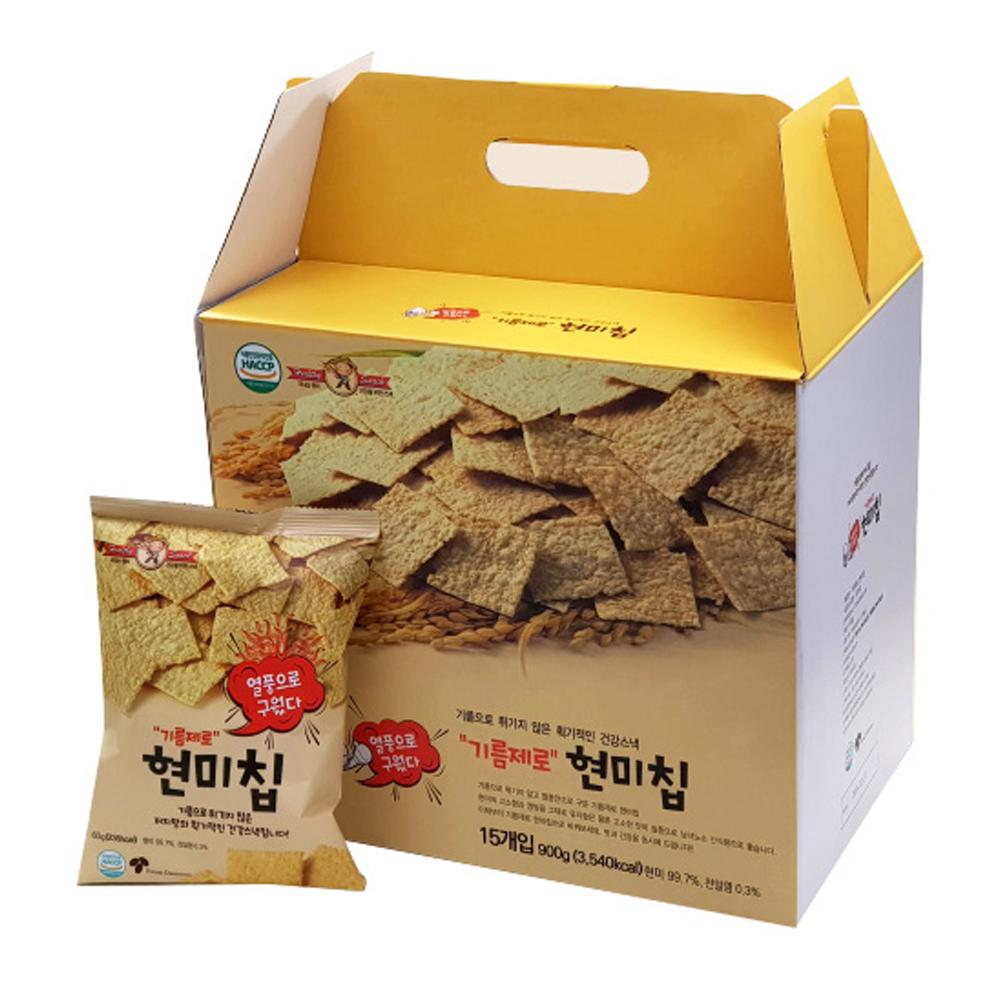 열풍으로 구운 기름제로 현미칩 선물세트, 과자 60g x 15p, 1세트