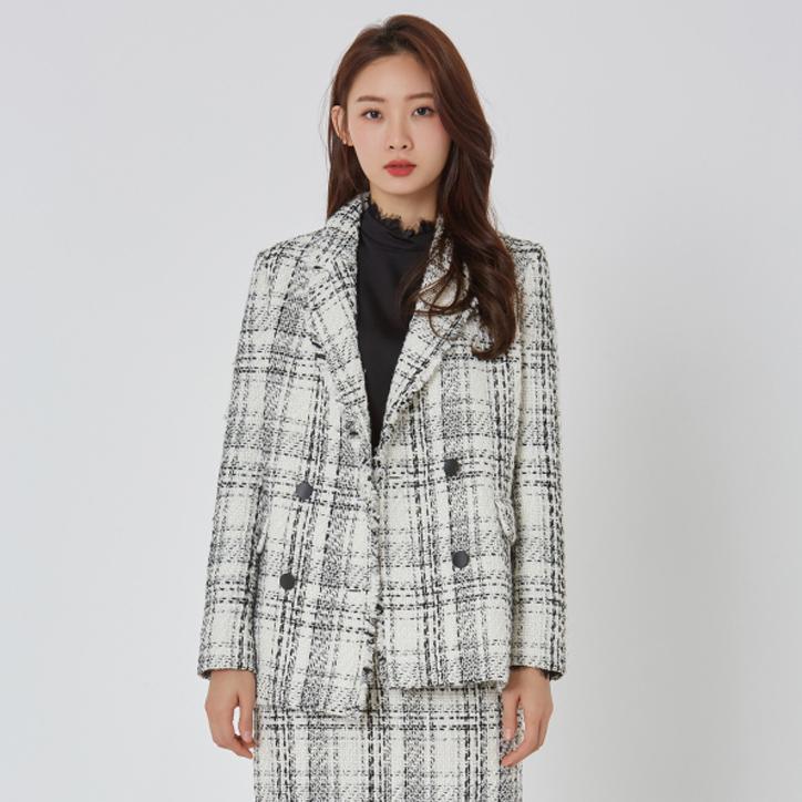 미쏘 여성용 더블 체크자켓
