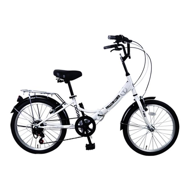 옐로우콘 20형 7단 접이식 오즈 성인자전거, 화이트, 140cm