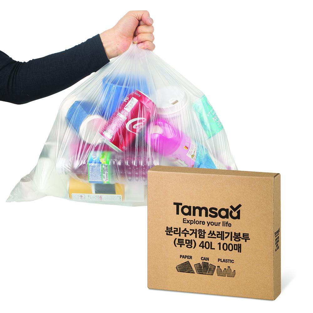 탐사 분리수거함 쓰레기용 투명 비닐 봉투, 40L, 100매