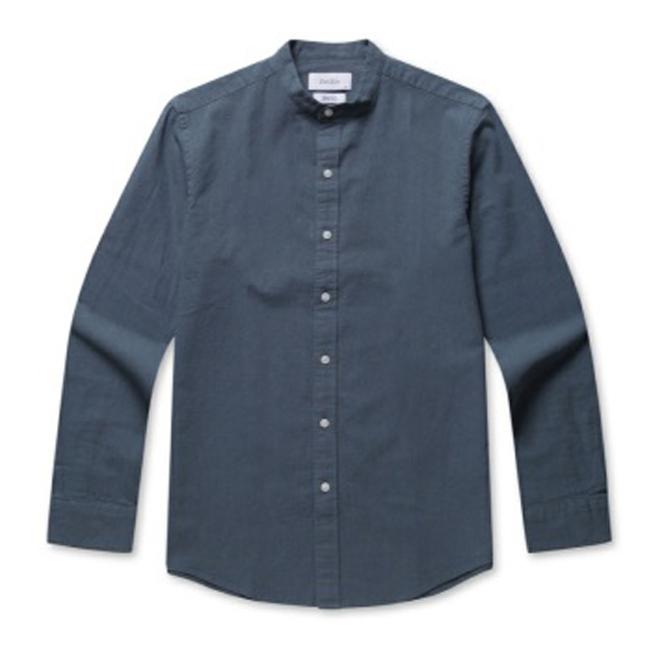 지오지아 남성용 린넨 코튼 슬림핏 캐주얼 셔츠 AEB2WC1101