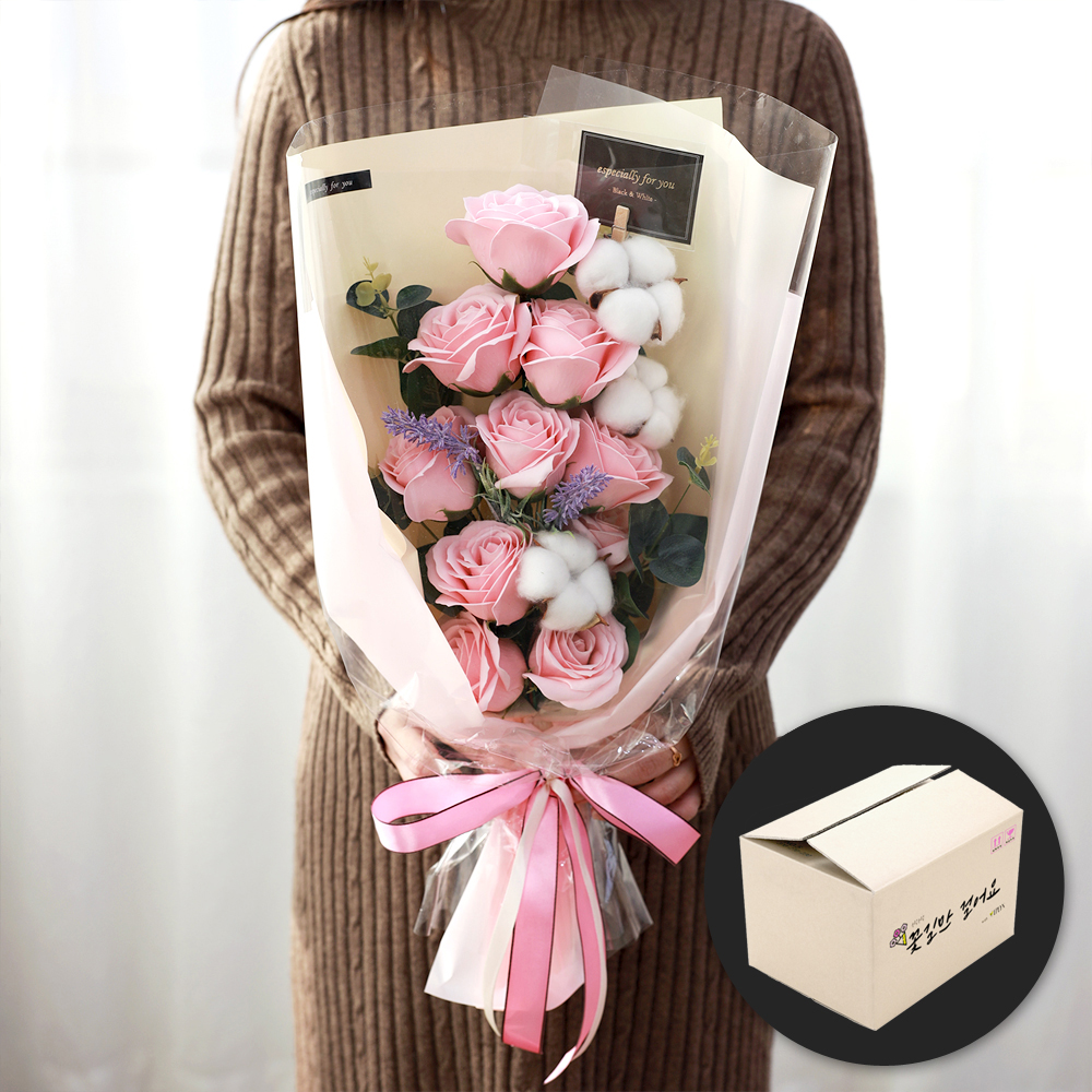 이플린 목화 장미 비누꽃 꽃다발 추억꽂이세트 + 안전상자, 핑크