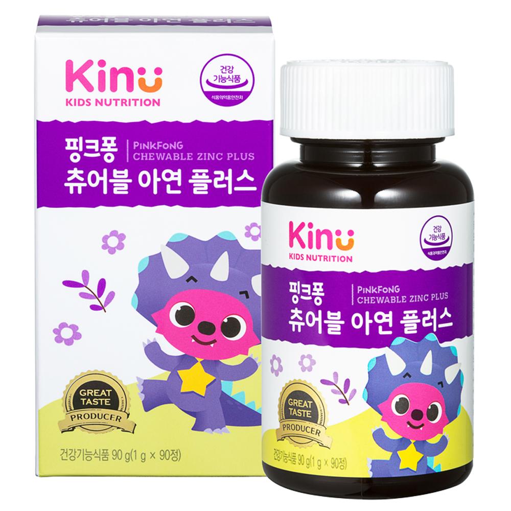KINU 핑크퐁 츄어블 아연 플러스, 90정, 1개