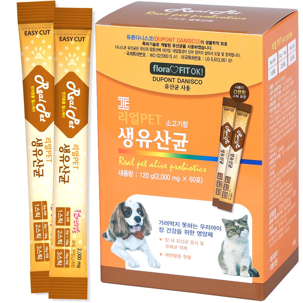 리얼펫 강아지 영양제 60포, 생유산균, 1개