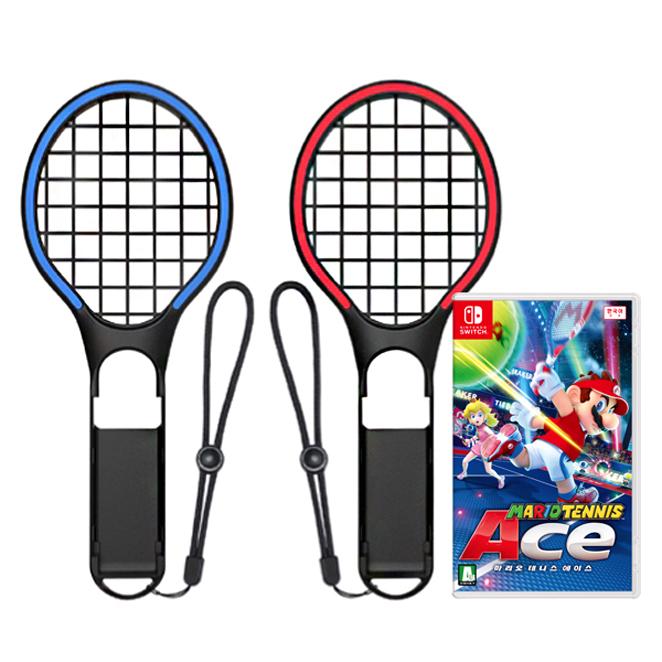 닌텐도 스위치 마리오 테니스 에이스 + 조이콘 테니스 라켓 네온 2p 세트, 단일 상품