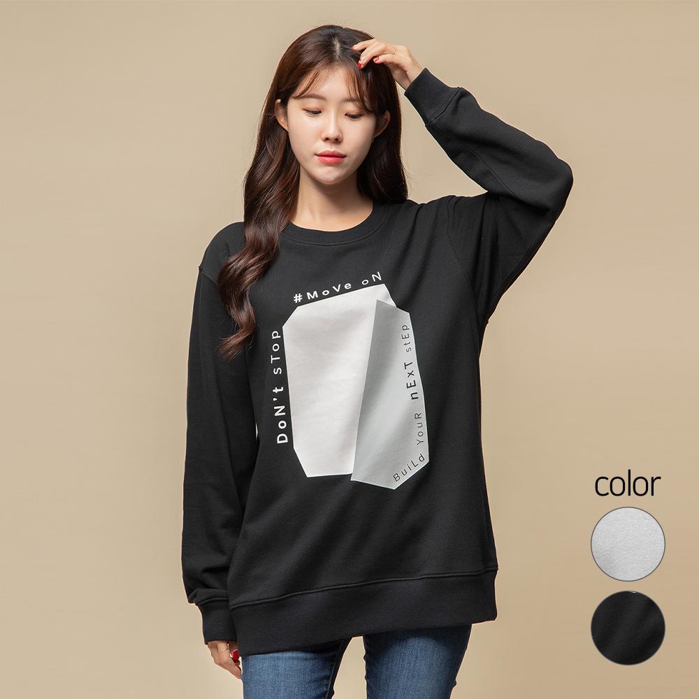 캐럿 남녀공용 릴렉스핏 그래픽 맨투맨 티셔츠 MJ03AA
