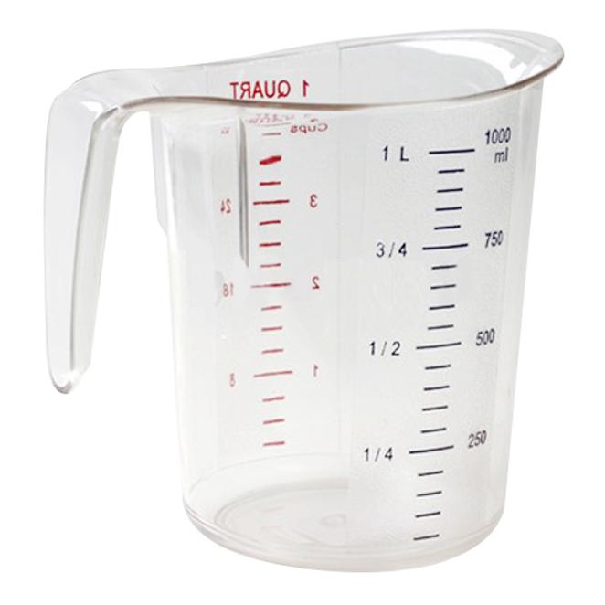 폴리카보네이트 투명 계량컵, 혼합 색상, 1000ml