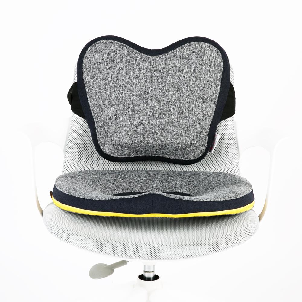 밸런스닥터 자세교정 방석 + 등쿠션 세트, 소프트블랙