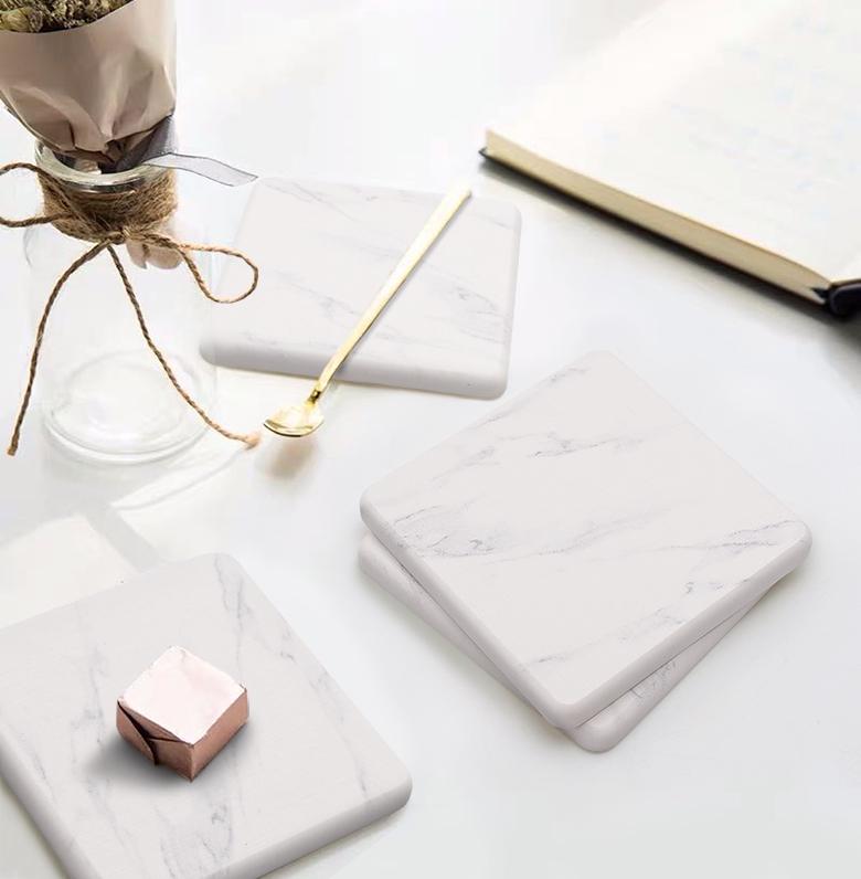 쿠팡 브랜드 - 코멧 홈 규조토 컵받침 사각 4개입, 마블-12