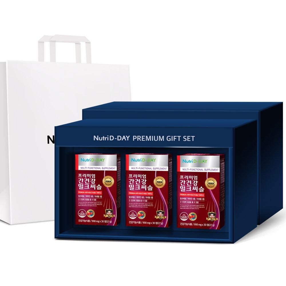 뉴트리디데이 프리미엄 간건강 밀크씨슬 선물세트 3개입 + 쇼핑백, 90정, 1세트