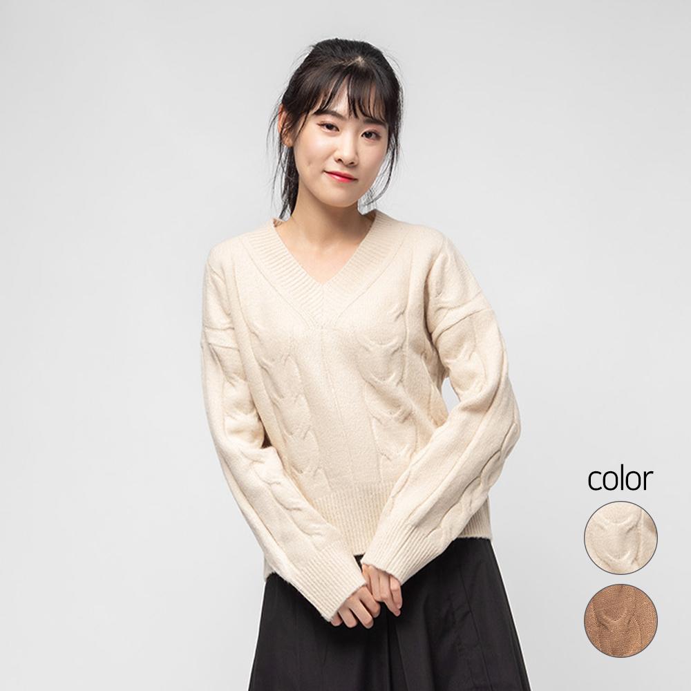 캐럿 여성용 브이넥 꽈배기 스웨터