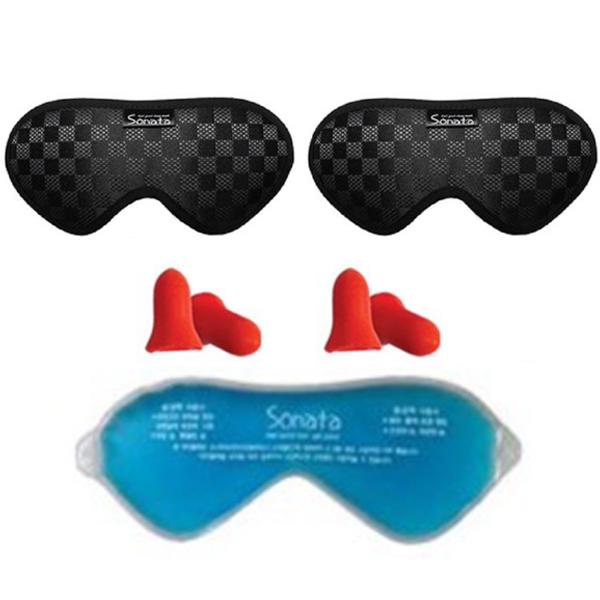 소나타 엘레강스 수면안대 블랙 2p + 귀마개 2p + 아이젤팩, 1세트
