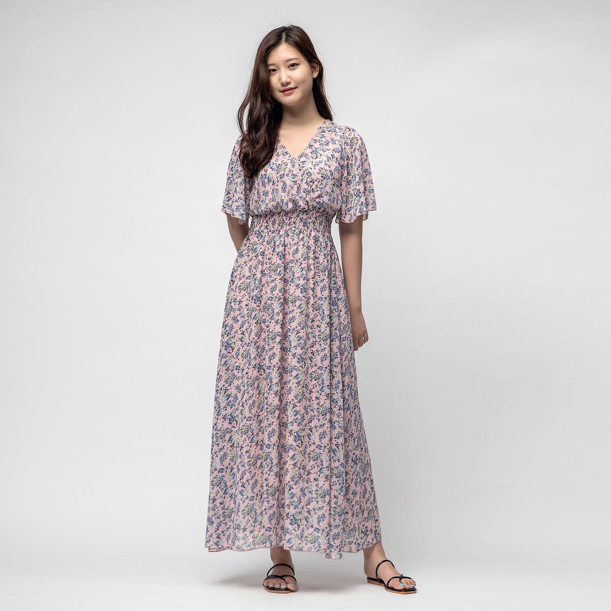 캐럿 여성 백리본 플로랄 드레스