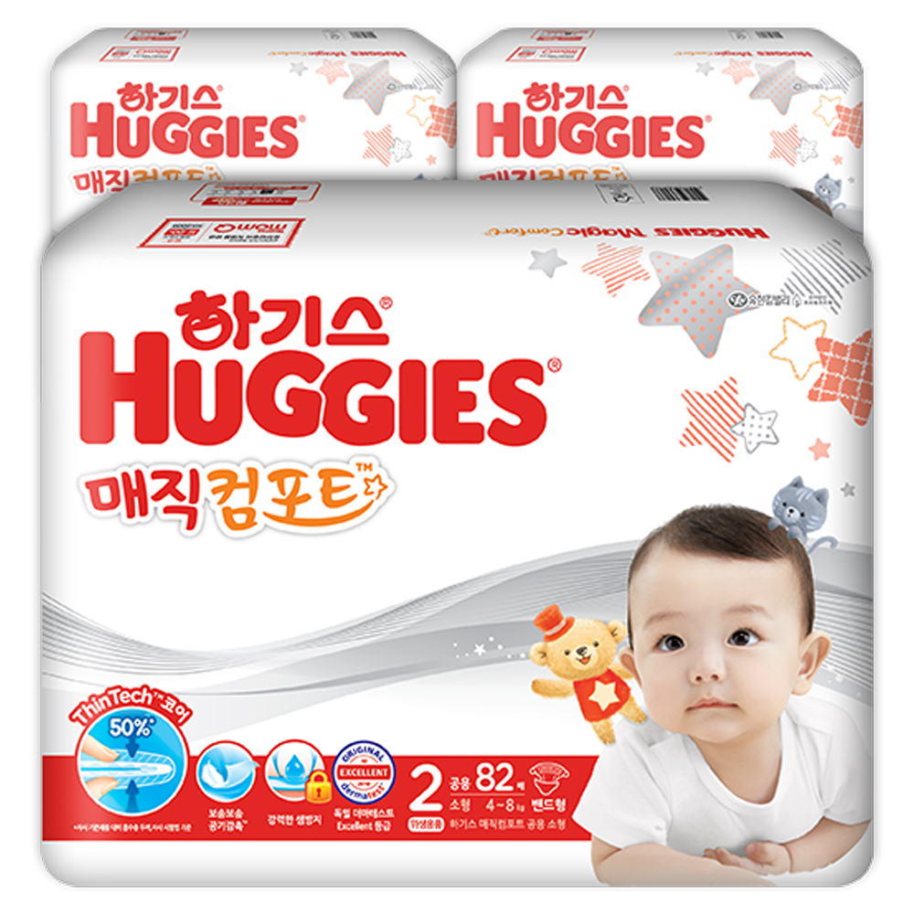 하기스 2020 매직 컴포트 밴드형 기저귀 남녀공용 소형 2단계(4~8kg), 246매